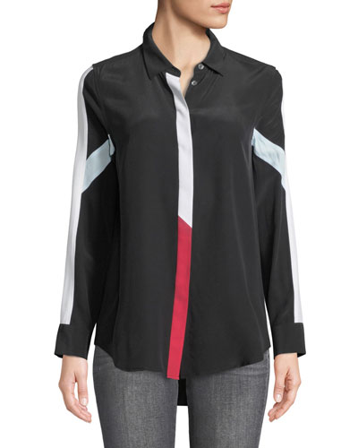 Long-Sleeve Button-Front Colorblocked Silk Shirt