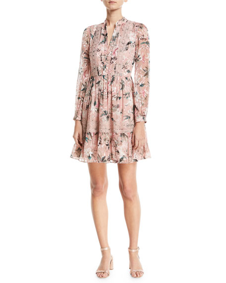 kate spade new york botanical chiffon silk-blend mini