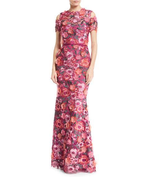 Marchesa Notte Floral 3D Guipure Lace Cold-Shoulder Gown