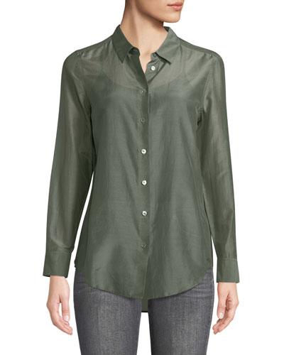 Essential Button-Front Egyptian-Cotton Shirt