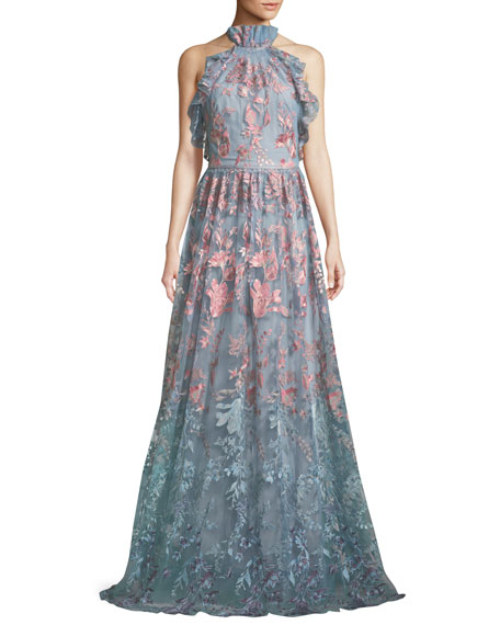 Marchesa Notte Ombr?? Floral Embroidered Halter Gown