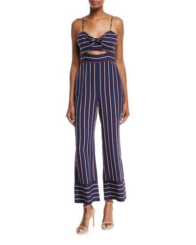 Lulu Sleeveless Cutout Wide-Leg Striped Jumpsuit