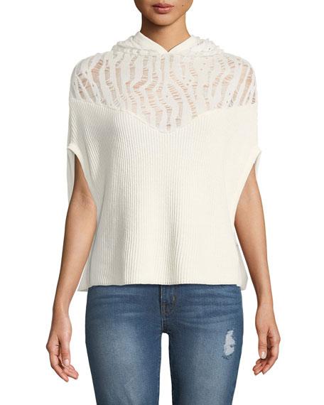 Rib-Knit Hooded Sweater w/ Mesh Top
