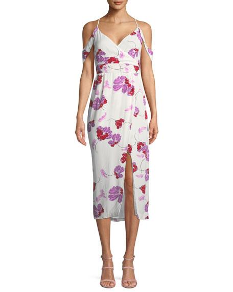 Sleeveless Floral-Print Midi Wrap Dress