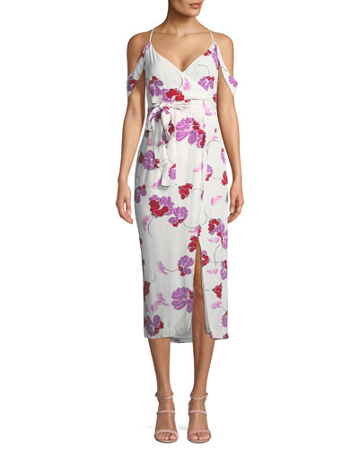 Sleeveless Floral-Print Midi Wrap Dress
