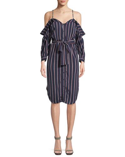 Paloma Lace-Up Short-Sleeve Stripe Dress