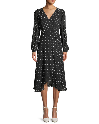 Betty Long-Sleeve Dot-Print Wrap Dress