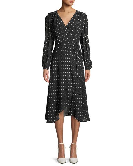 Betty Long-Sleeve Dot-Print Wrap Dress