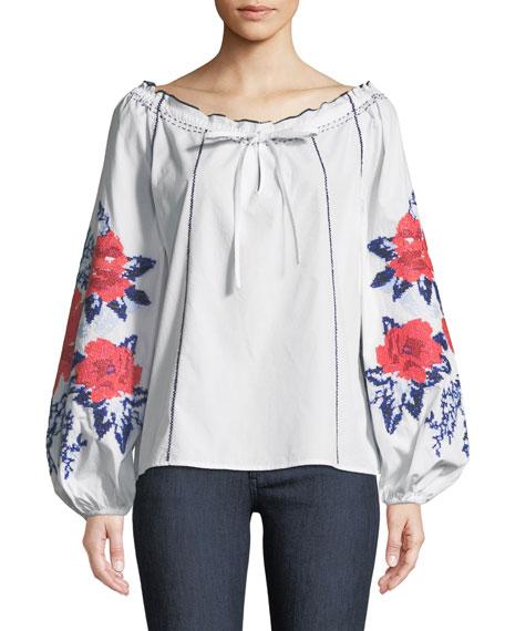 Parker Laureena Floral-Print Off-the-Shoulder Blouse