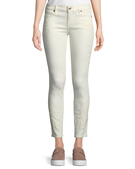 Halle Mid-Rise Skinny Jeans with Embroidery