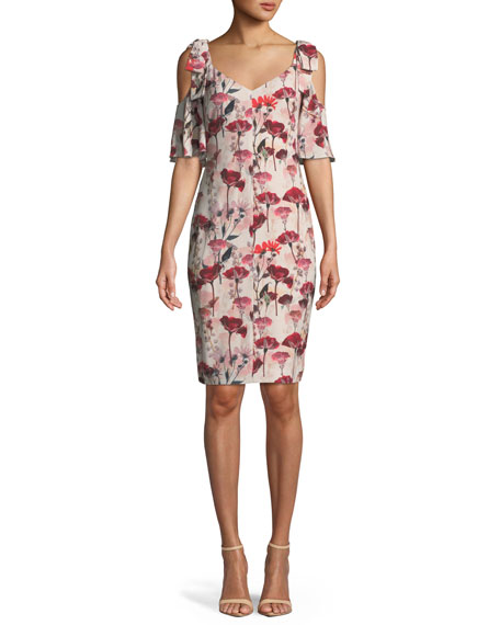 Black Halo Monaco Floral-Print Cold-Shoulder Cocktail Dress