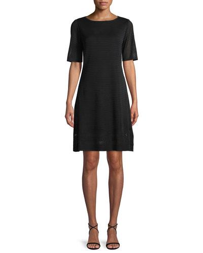 Short-Sleeve Ottoman A-line Dress, Plus Size