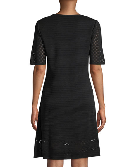 Short-Sleeve Ottoman A-line Dress
