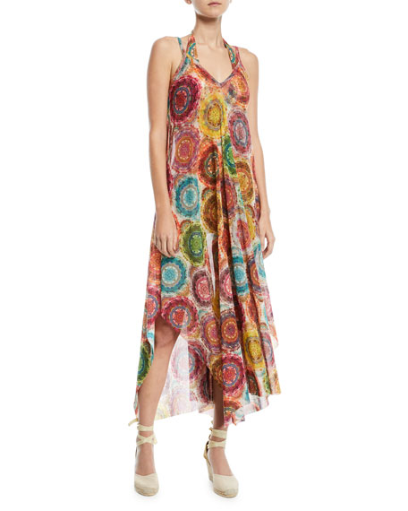 Fuzzi V-Neck Printed Coverup Maxi Dress and Matching