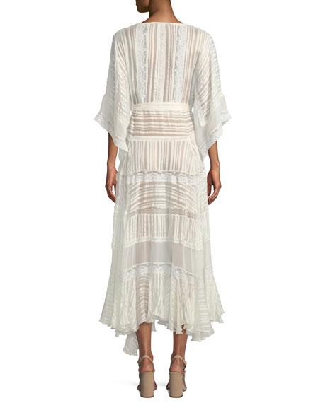 Breeze Veil Tonal-Striped Silk Maxi Dress