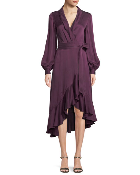 Silk Satin Wrap Dress