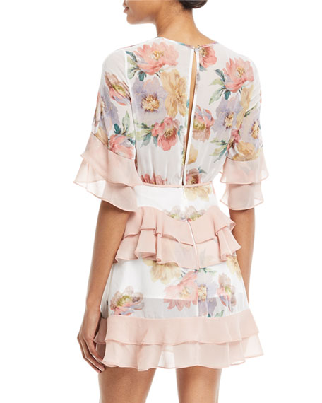 Darcy Floral-Print Mini Dress with Ruffled Frills