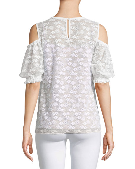 Floral-Lace Cold-Shoulder Top