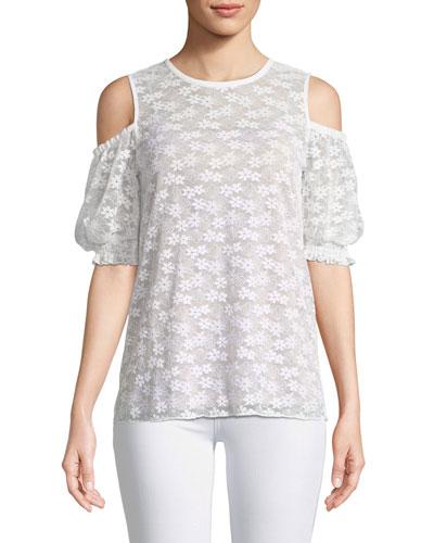 Floral-Lace Cold-Shoulder Top