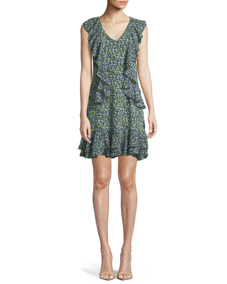 MICHAEL Michael Kors Wild Flower Cascade-Ruffle Dress