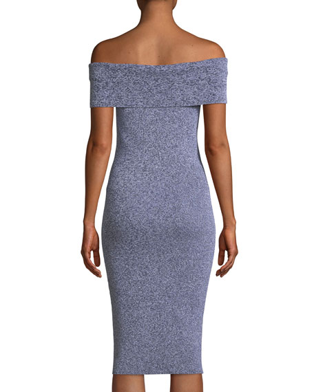 Plaited Rib-Knit Off-the-Shoulder Dress
