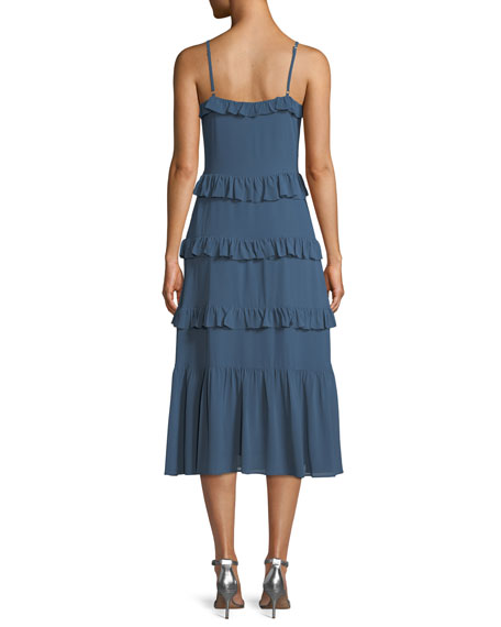 Ruffle-Tiered Sleeveless Midi Dress