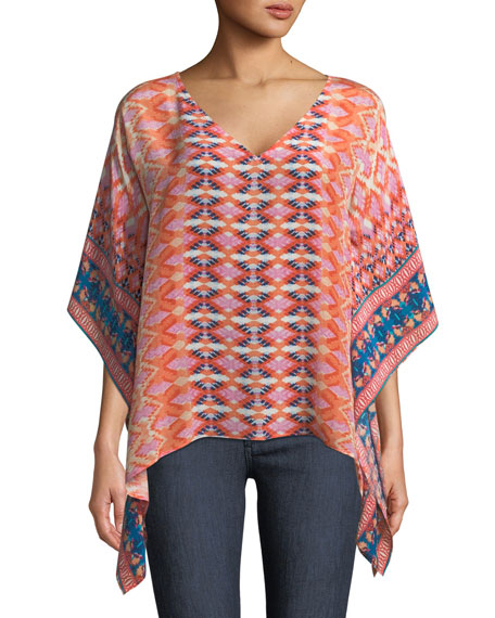 b45652a2e4a654 Tolani Briyana Graphic Print Silk Tunic Top Plus Size In Apricot