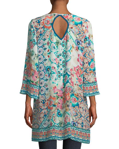Astrid Floral-Print Silk Tunic, Plus Size