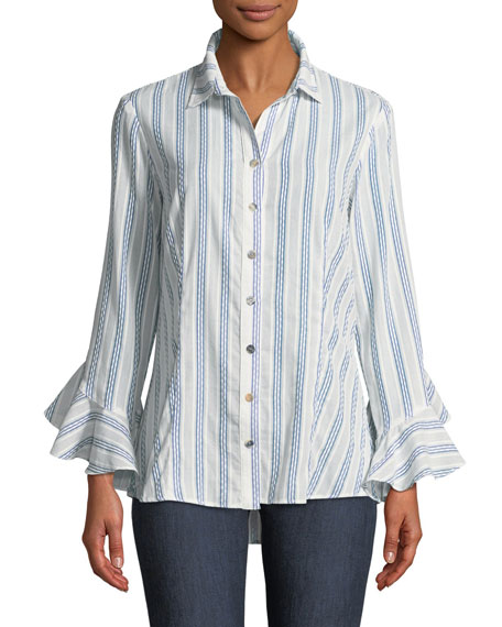 Finley Carmella Striped Ruffle-Sleeve Shirt