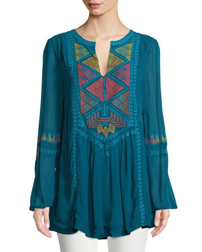 Lauren Geometric Embroidered Peasant Tunic, Plus Size