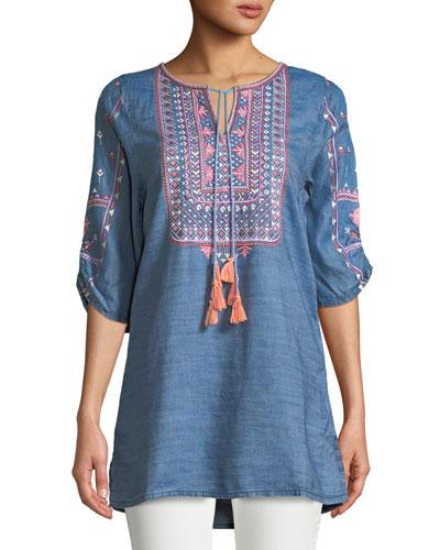 Megha Embroidered Denim Tunic, Plus Size