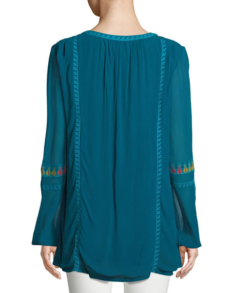 Lauren Geometric Embroidered Peasant Tunic