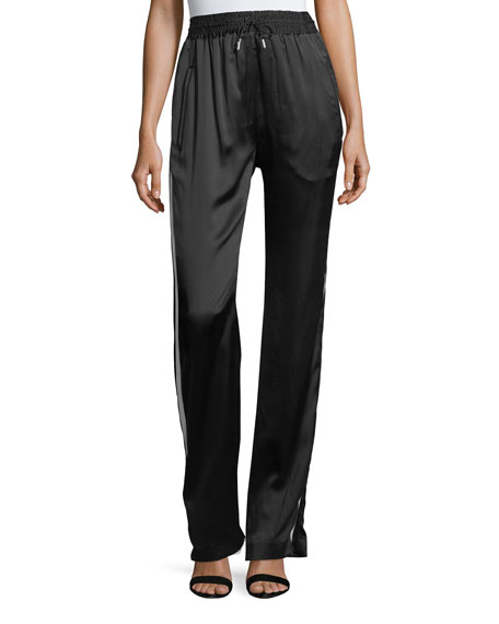 Burberry Tanley Silk Side-Striped Jogger Pants