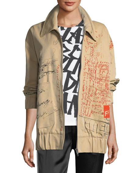 Burberry Barnhall Scribble Zip-Front Long Bomber Jacket
