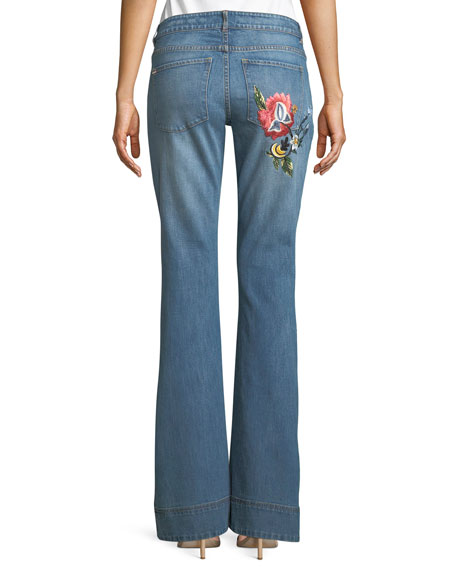 Ryley Floral-Embroidered Low-Rise Bell Jeans