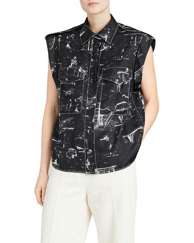 Seaport Teya Silk Printed Sleeveless Shirt