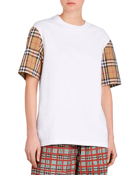 Serra Tee w/ Check Sleeves