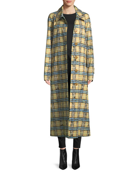 Burberry Calderbrook Gabardine Scribble-Check Car Coat