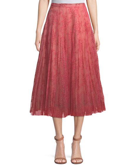 Burberry Wilton Lace Pleated Midi Skirt