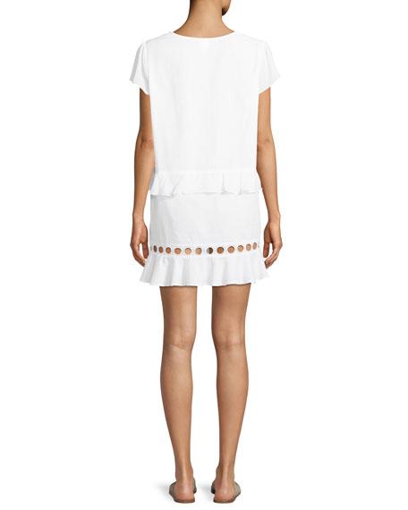 Naomi V-Neck Cap-Sleeve Circle-Cutout Cotton Tunic