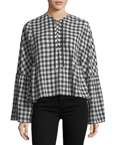 Lace-Up Bell-Sleeve Top