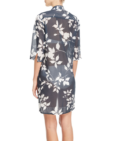 Empress Floral-Print Cotton Gauze Shirtdress Coverup