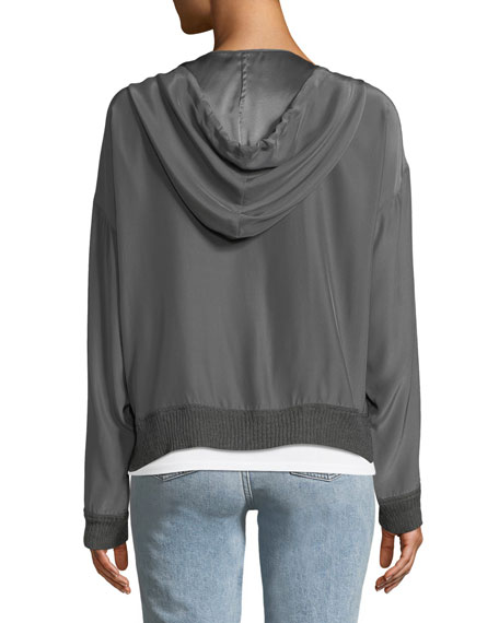 Silk Charmeuse Zip-Front Hoodie with Knit Trim