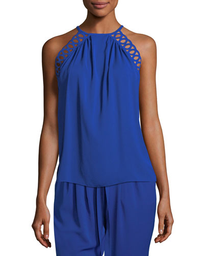 Kerri Halter Top with Cutout Trim
