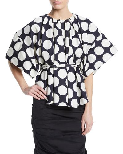 Wide-Sleeve Polka-Dot Top