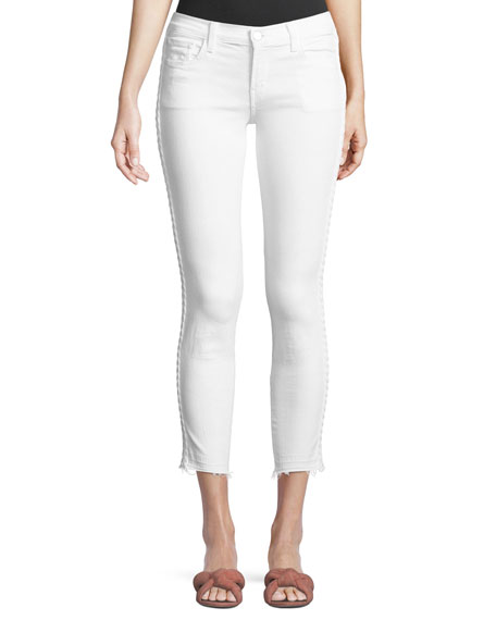 9326 Low-Rise Cropped Skinny Jeans with Braided Sides