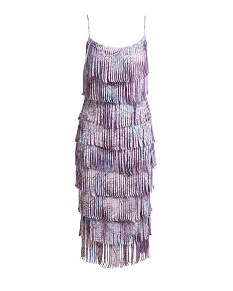 Pippa Tiered Fringe Sleeveless Cocktail Dress