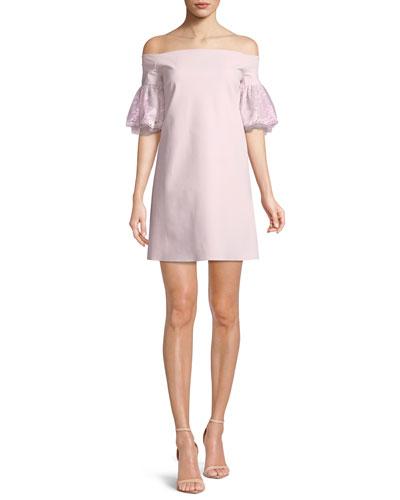 Joelle Lace-Sleeve Mini Cocktail Dress