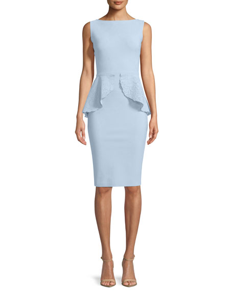 Chiara Boni La Petite Robe  IMMA SLEEVELESS PEPLUM SHEATH COCKTAIL DRESS