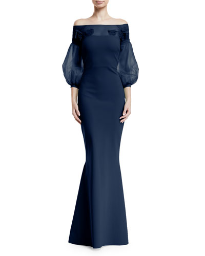 Moyer Illusion Balloon-Sleeve Gown